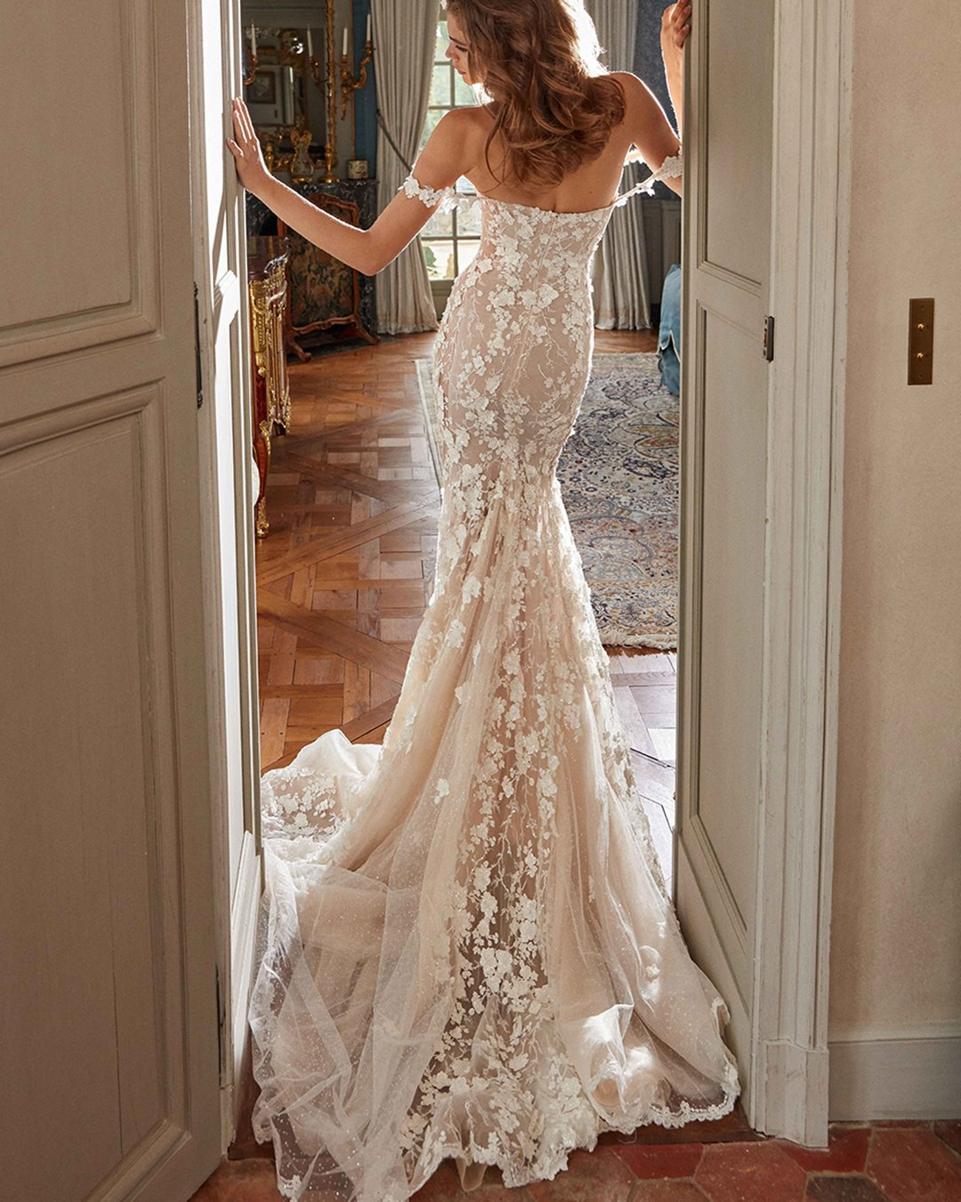best wedding dresses fit and flare off the shoulder strapless galia lahav