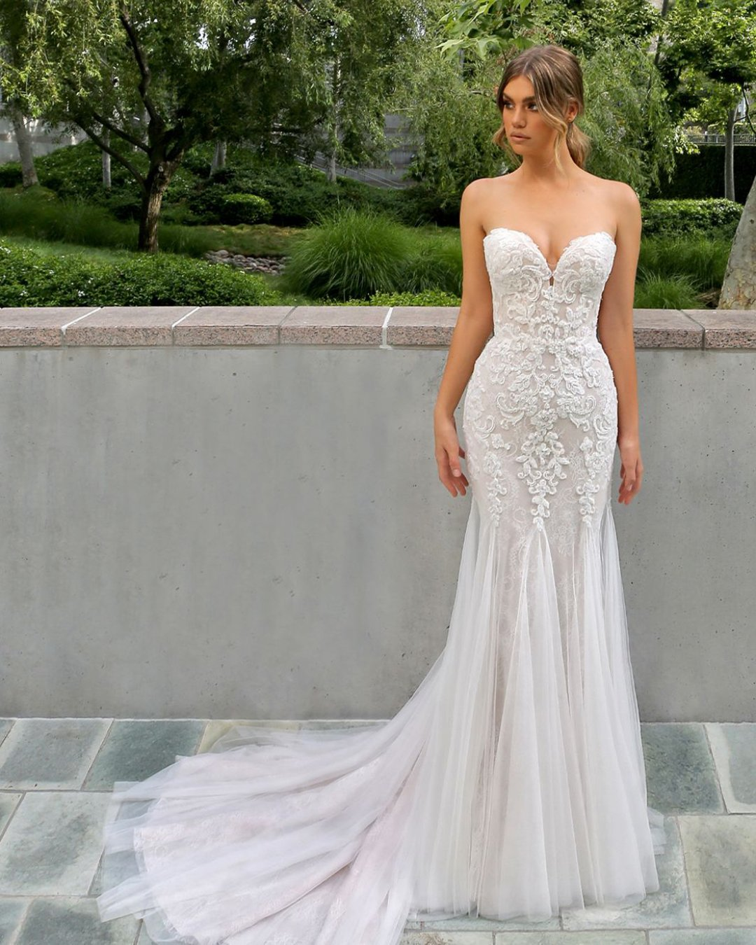 best wedding dresses sheath sweetheart neckline strapless lace with train enzoani