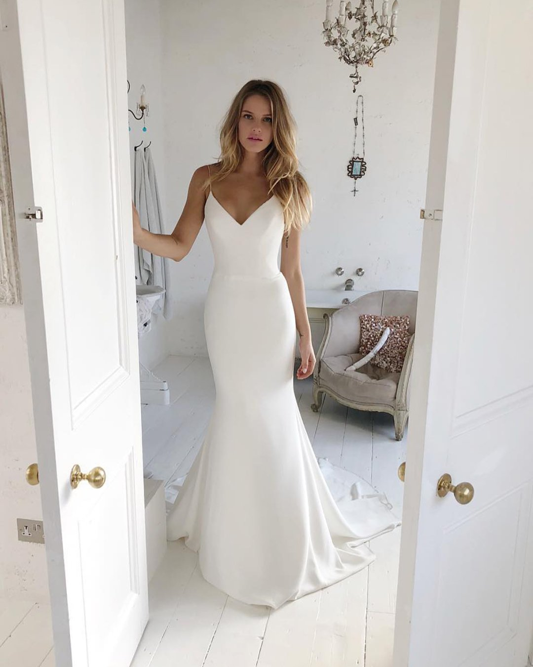 best wedding dresses simple with spaghetti straps suzanne neville
