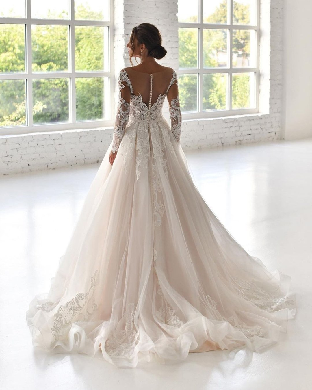 best wedding dresses with illusion long sleeves lace princess navibluebridal