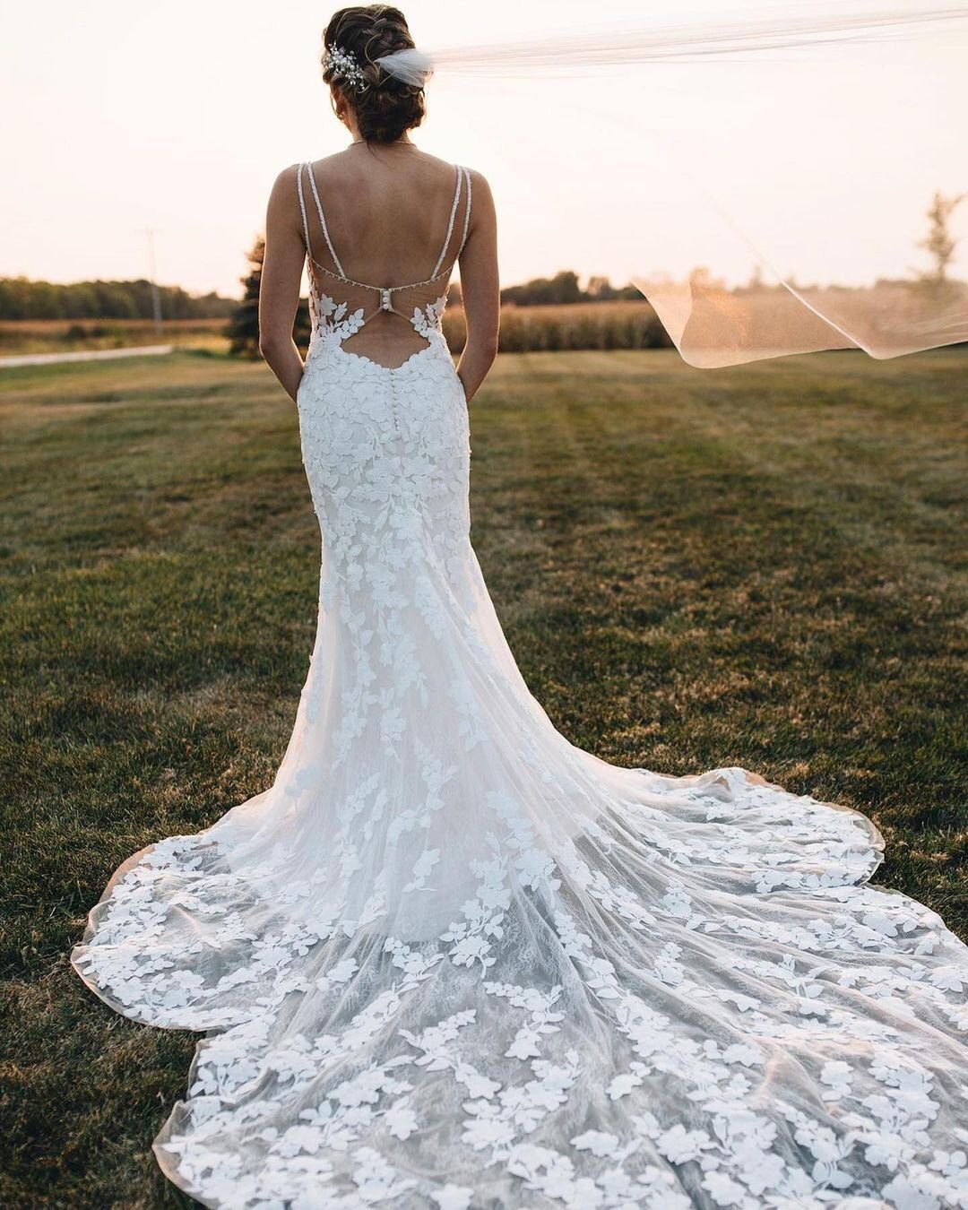 country style wedding dresses trumpet with open back lace train morilee