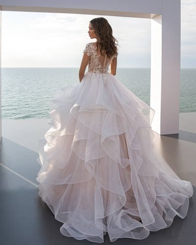 tattoo effect wedding dresses ball gown with cap sleeves lace back perfioni