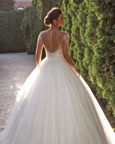 tattoo effect wedding dresses ball gown with illusion sleeves country annasposagroup