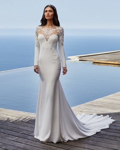 tattoo effect wedding dresses fit and flare with long sleeves lace neckline pronovias
