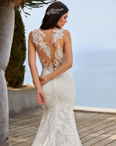 tattoo effect wedding dresses lace illusion back pronovias