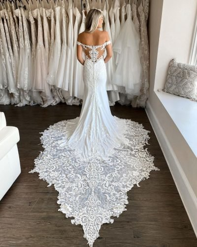 tattoo effect wedding dresses sheath off the shoulder lace with train martinaliana