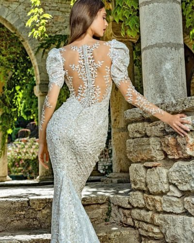 tattoo effect wedding dresses with illusion long sleeves lace floral juliakontogruni