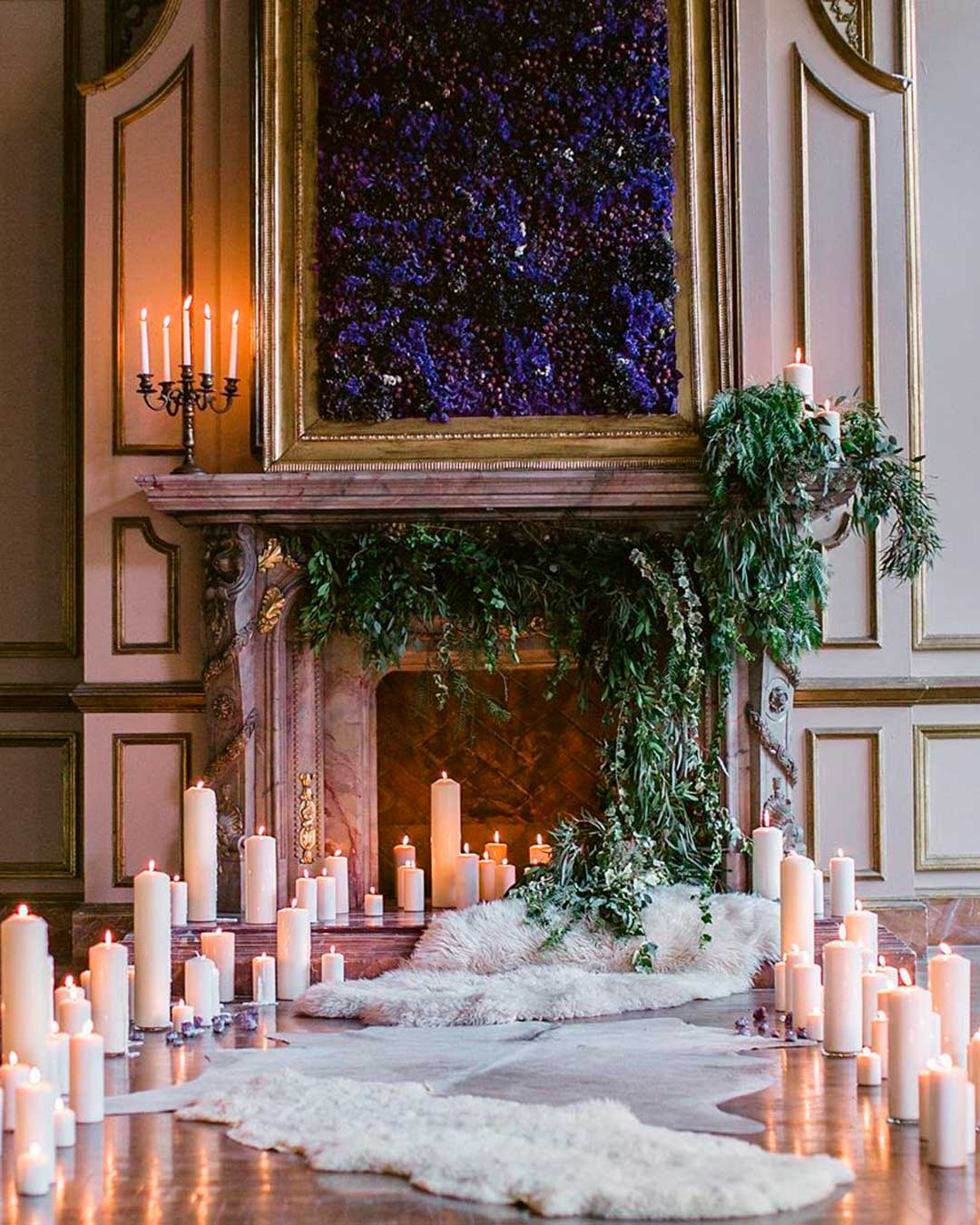 wedding trends fireplace candles