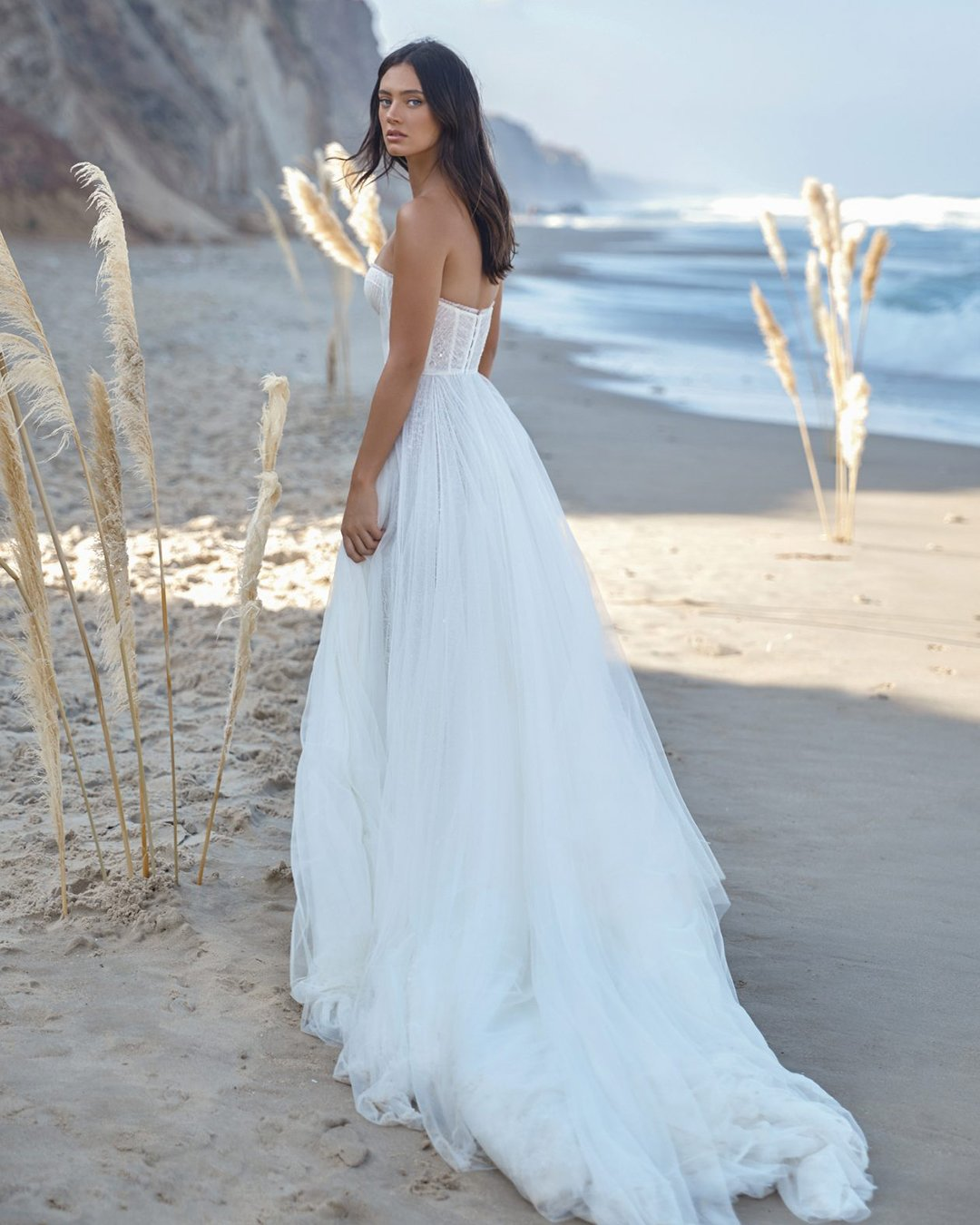 beach wedding dresses a line low back with train lee grebenau