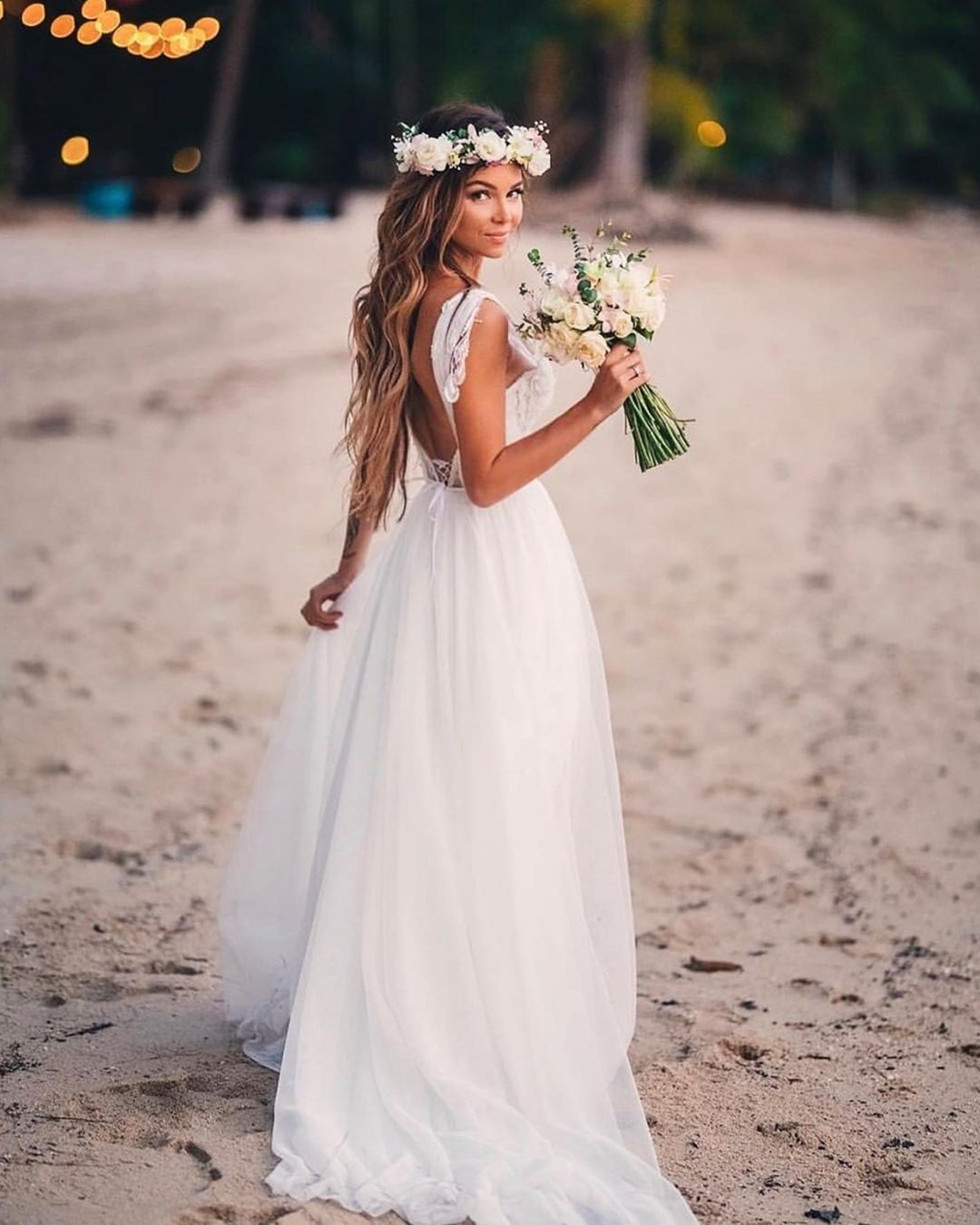 beach wedding dresses a line open back beach alex veil