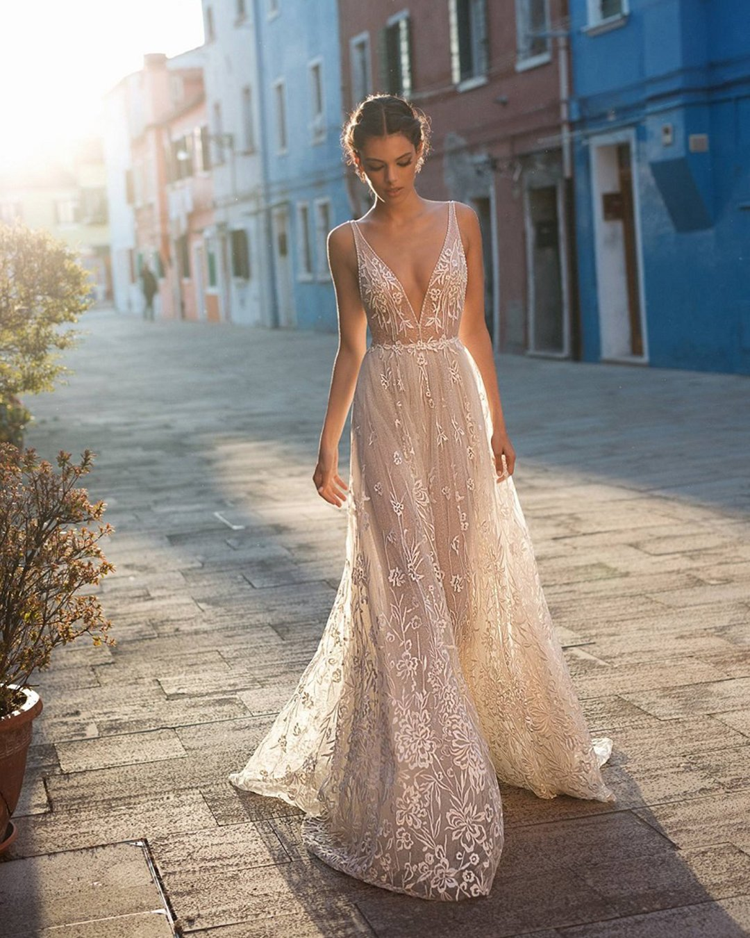 beach wedding dresses a line v neckline lace gali karten