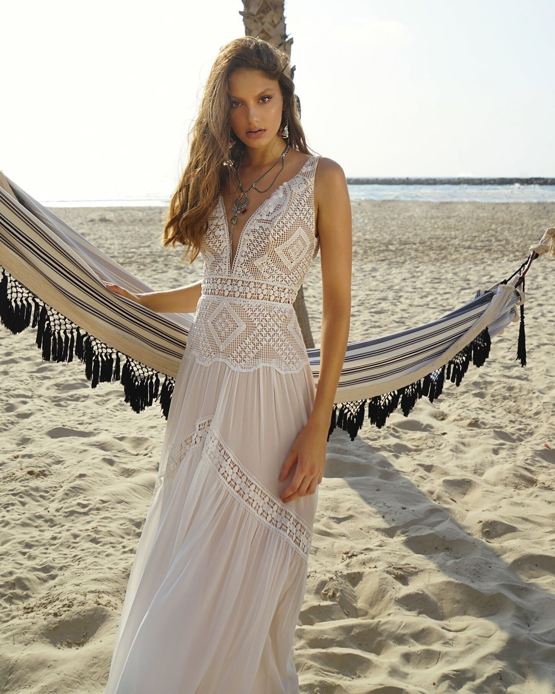 beach wedding dresses a line v neckline lace hippie boho rish