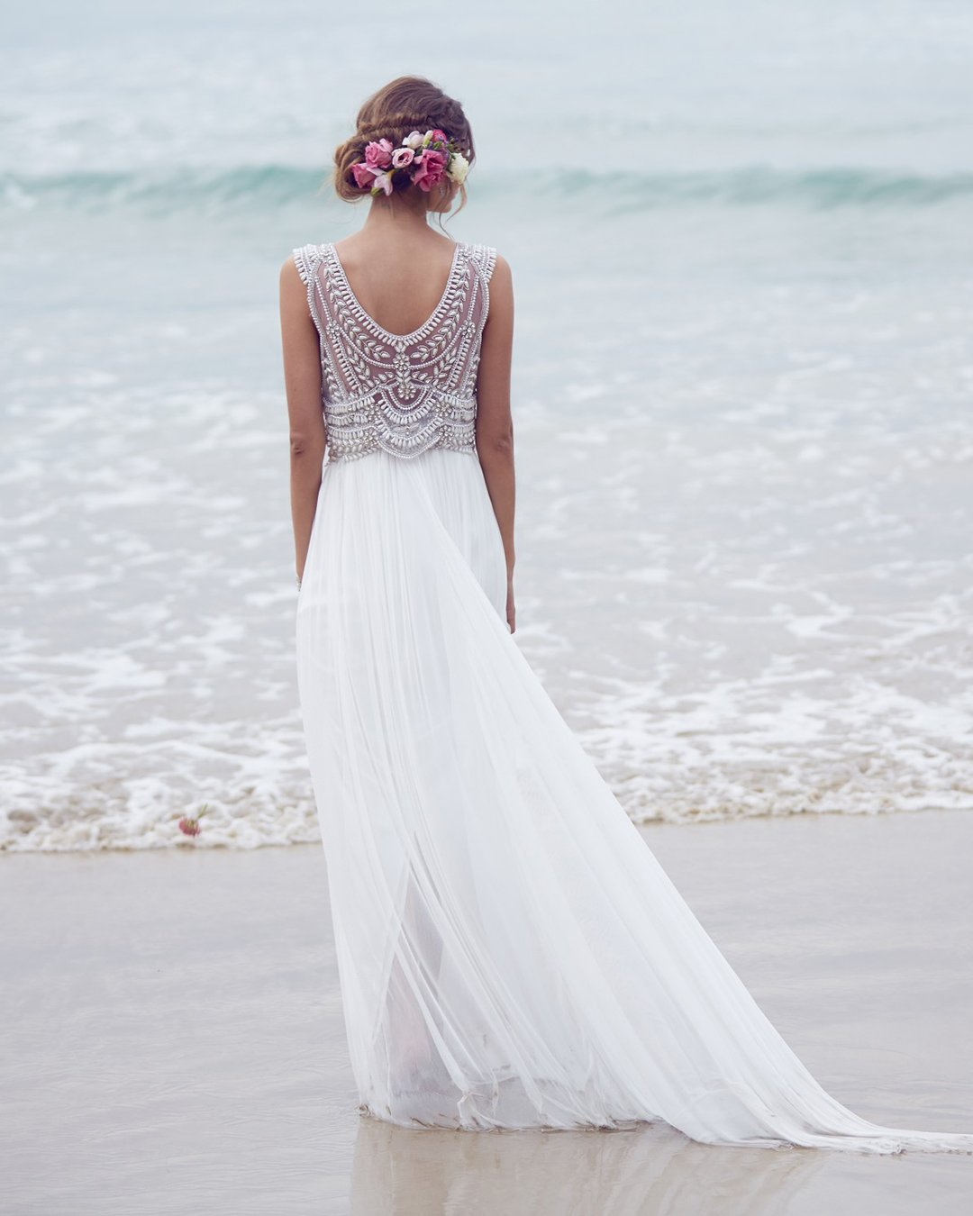 beach wedding dresses a line vintage jeweled anna campbell