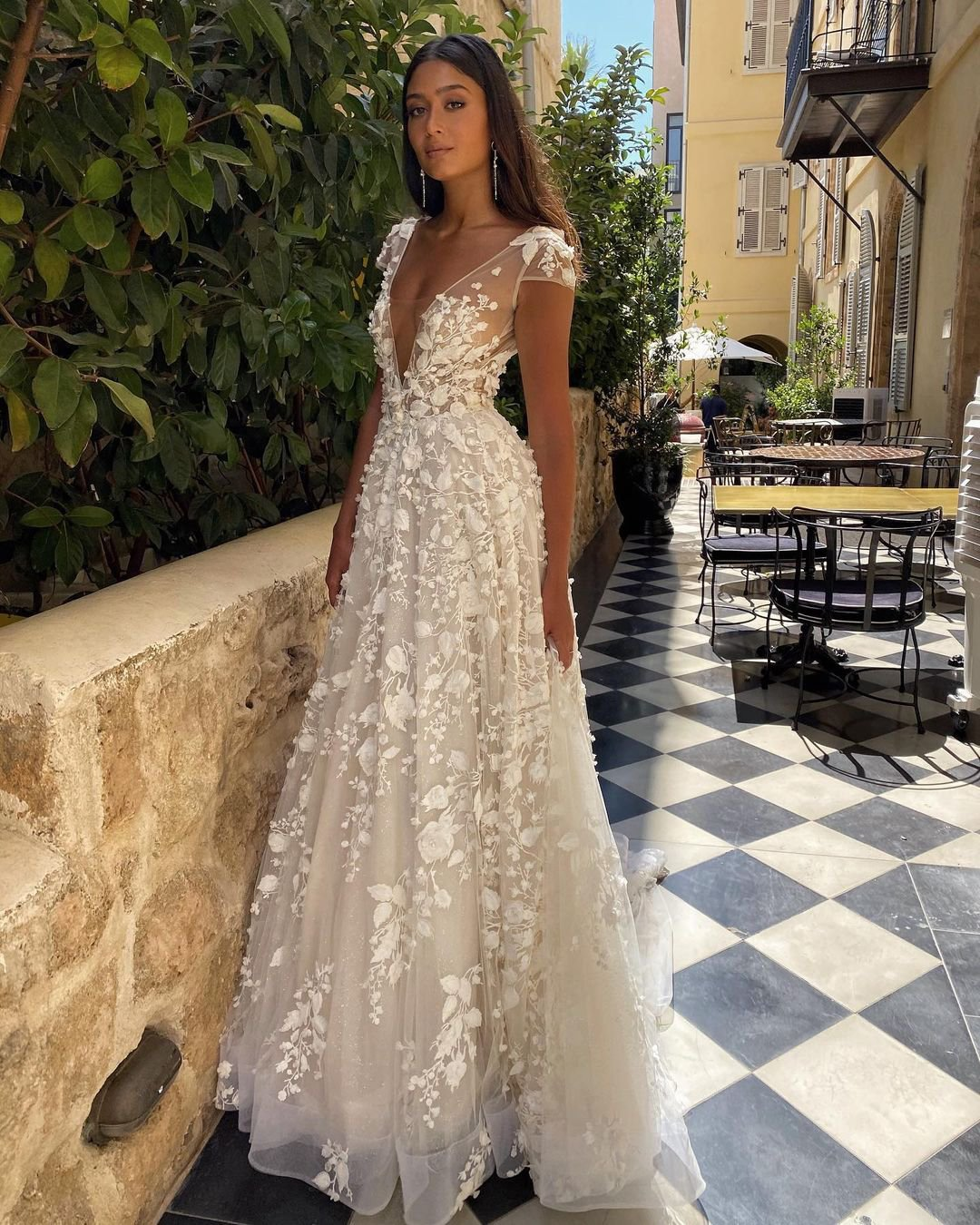 beach wedding dresses a line with cap sleeves floral appliques berta