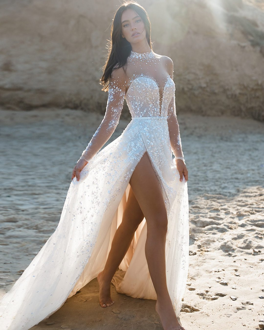 beach wedding dresses a line with illusion long sleeves sequins leegrebenau