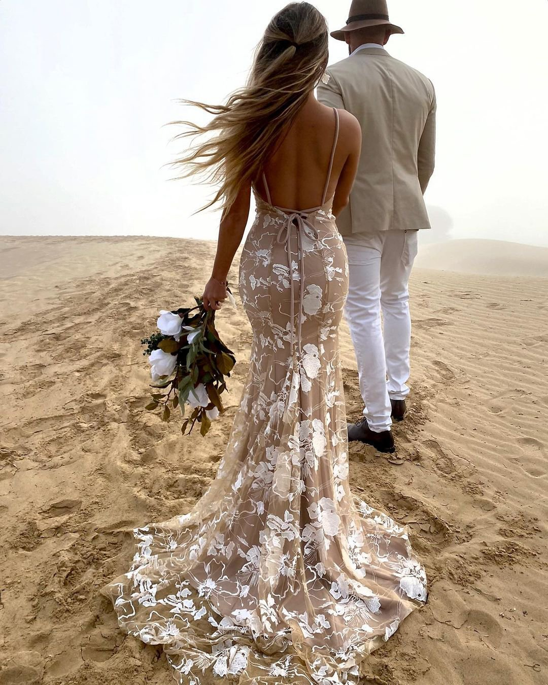beach wedding dresses mermaid with spaghetti straps beige sexy studio minc