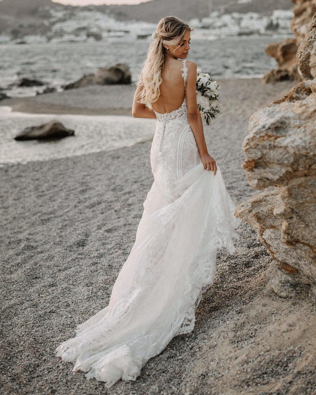 beach wedding dresses mermaid with spaghetti straps lace martina liana