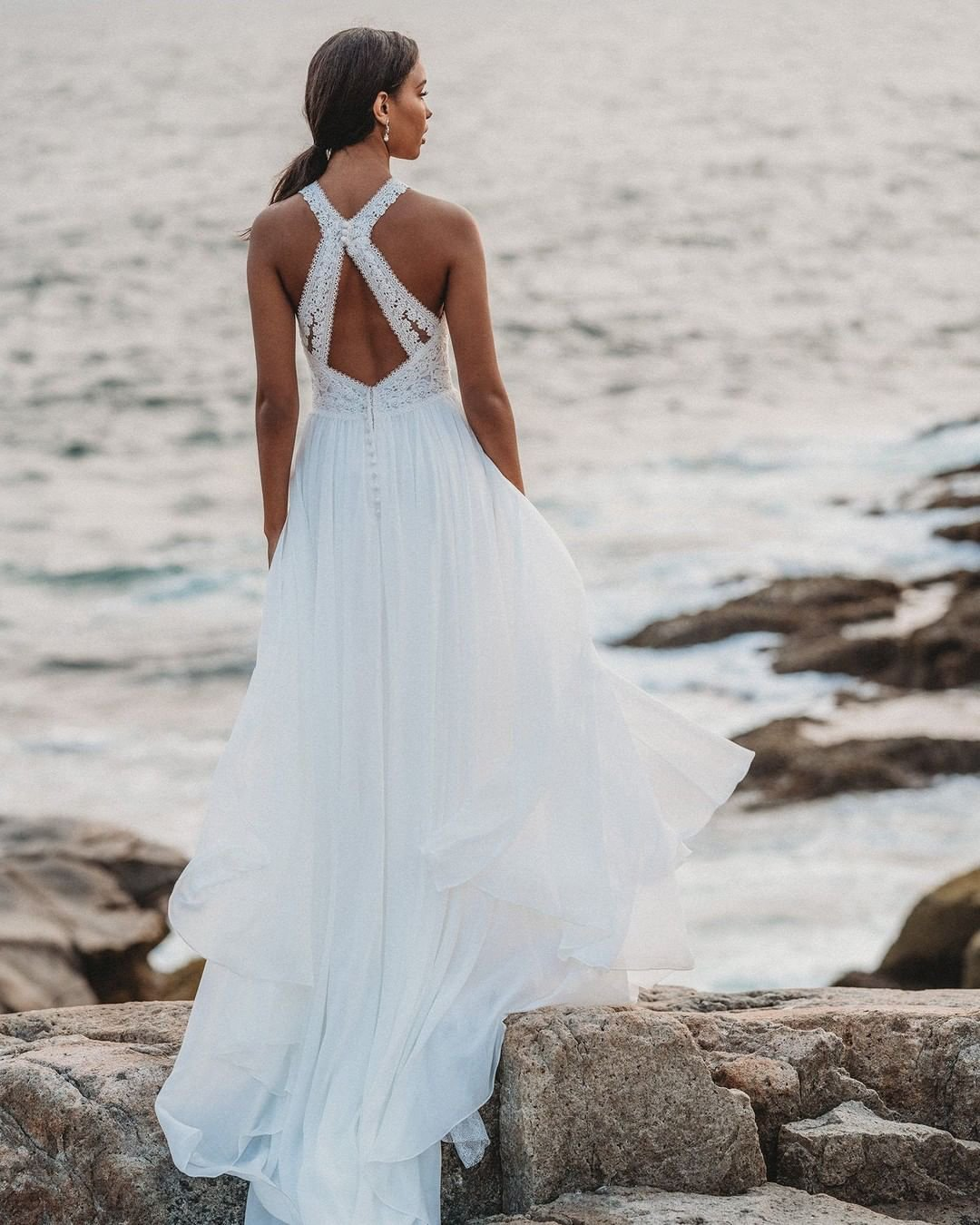 beach wedding dresses open back a line flowy boho allurebridals