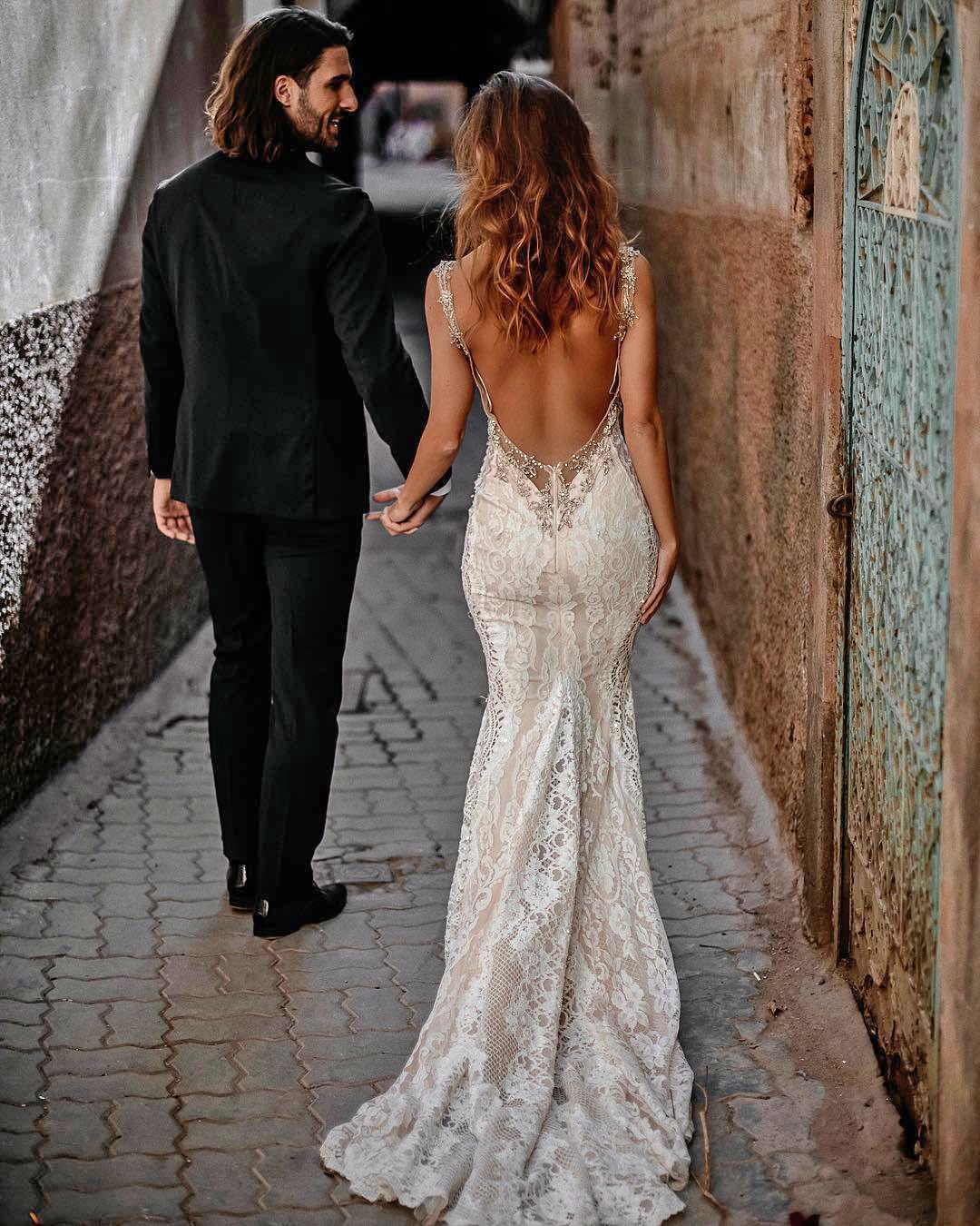 beach wedding dresses sheath backless with spaghetti straps lace sexy tali photography