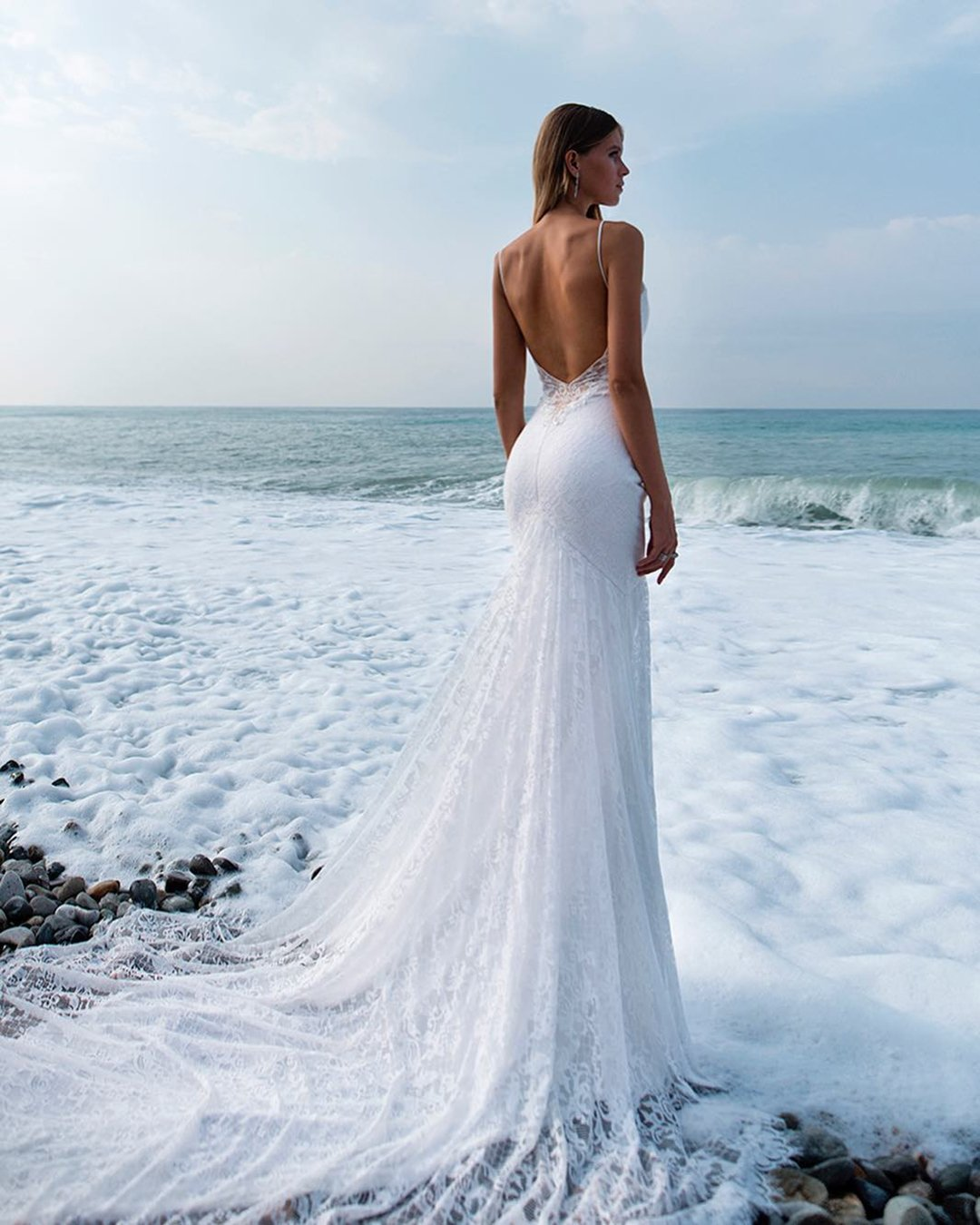 beach wedding dresses sheath backless with straps sexy kuznetcova