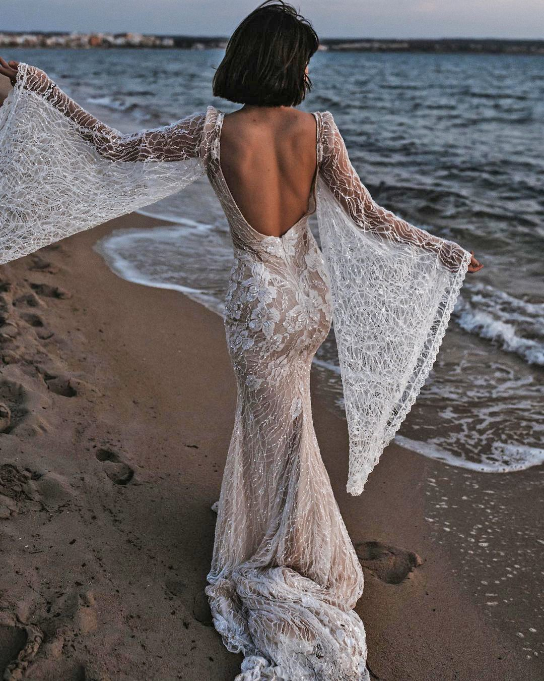 beach wedding dresses sheath low back sequins galialahav