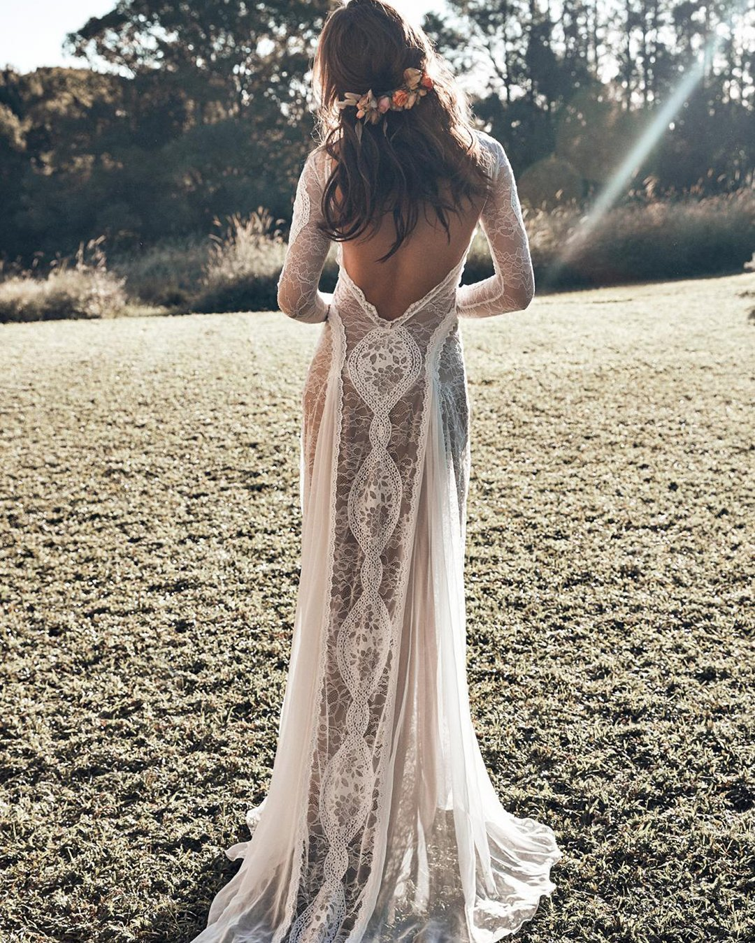 beach wedding dresses sheath open back with long sleeves grace love lace