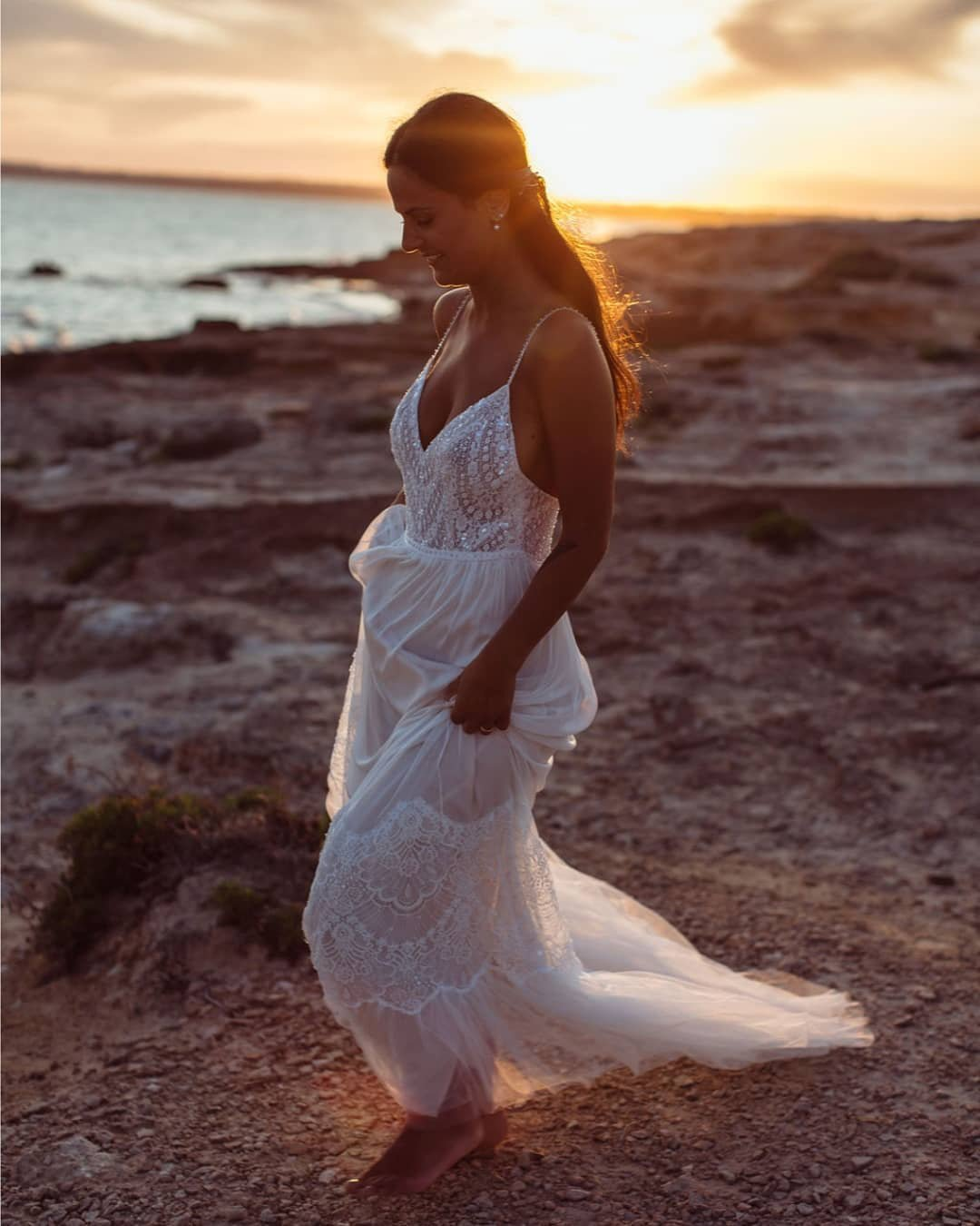 beach wedding dresses sheat with spaghetti straps lace boho selia_photography