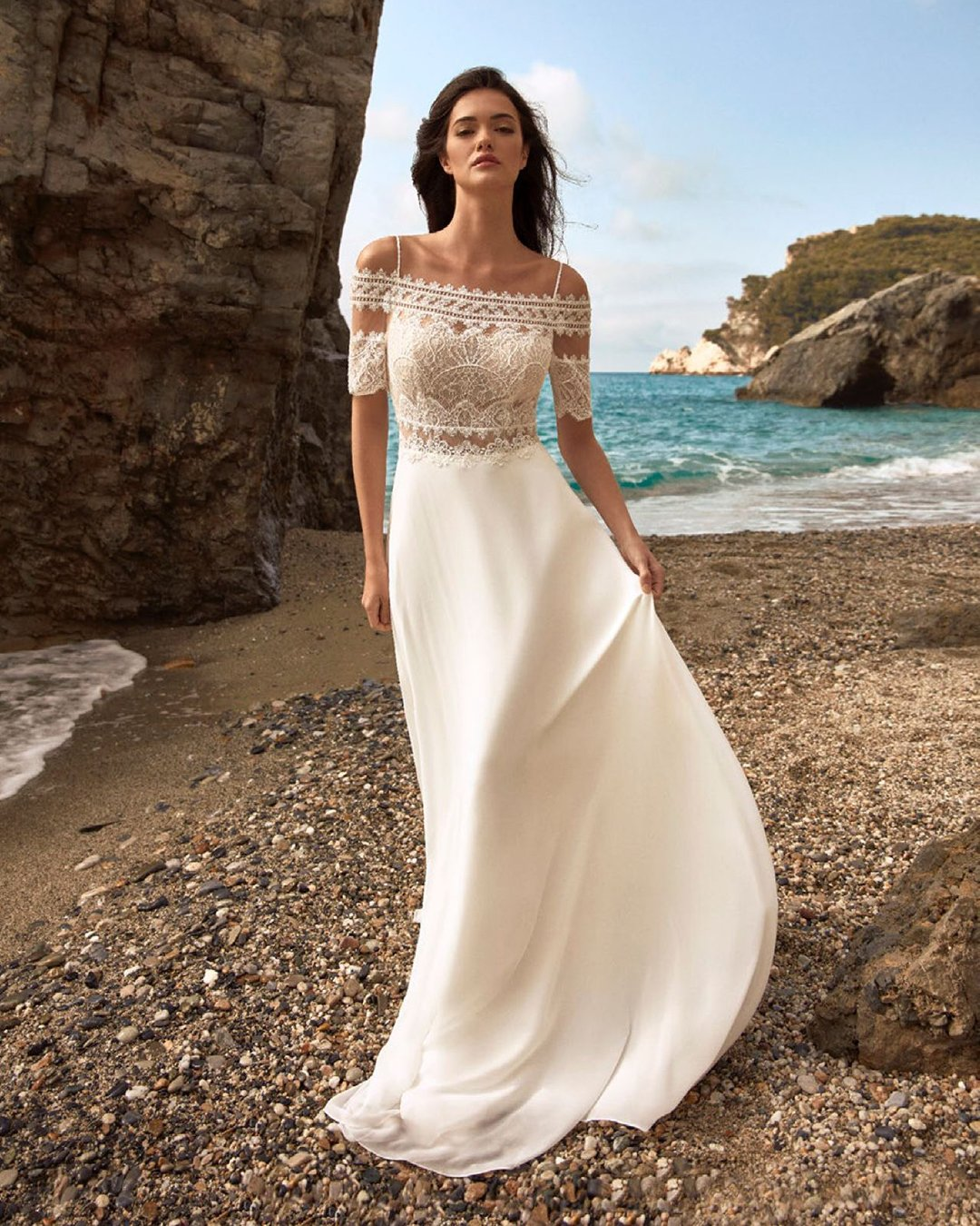 beach wedding dresses with spaghetti straps lace nicole spose