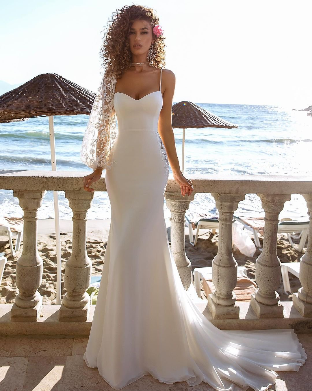 beach wedding dresses sheath with spaghetti straps sweetheart neckline tinavalerdi