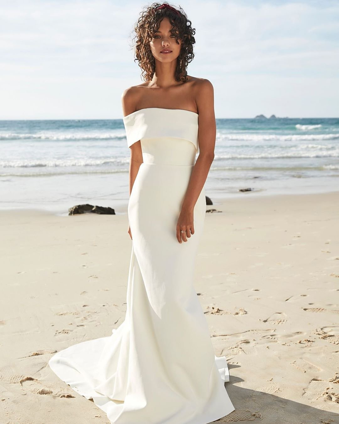 beach wedding simple straight neckline chosenbyoneday