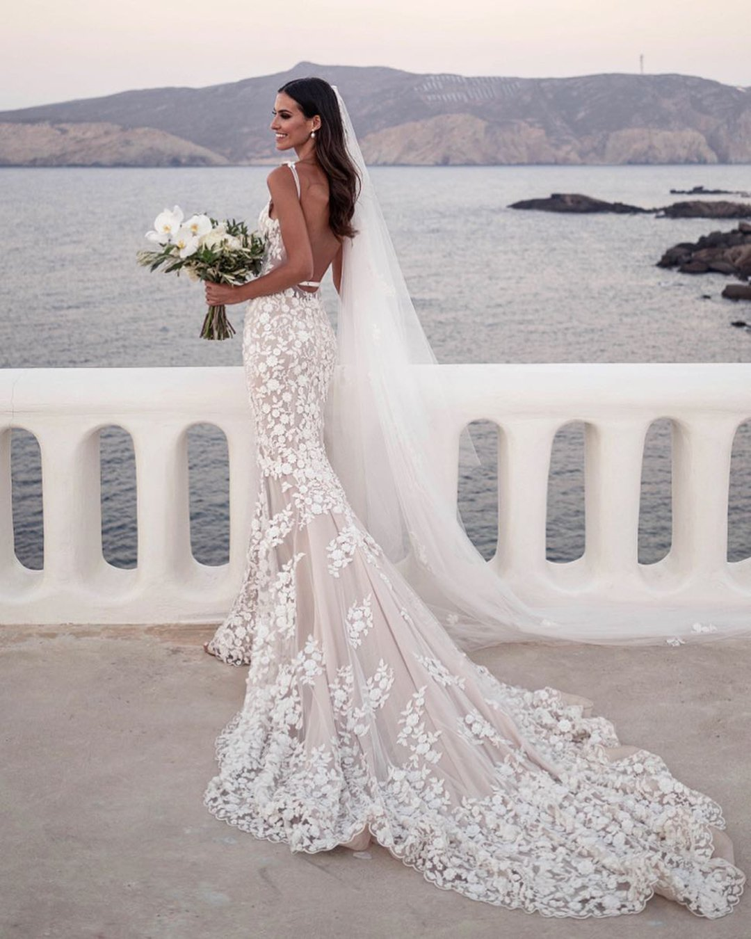 beach-wedding dresses with straps low back floral blush with train steven khalil