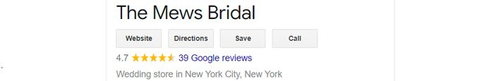 best bridal salon in NYC mews bridal review