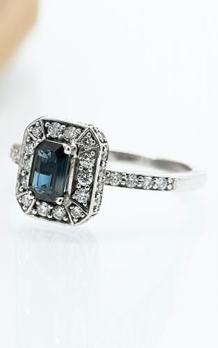 emerald cut engagement rings gemstone silver halo
