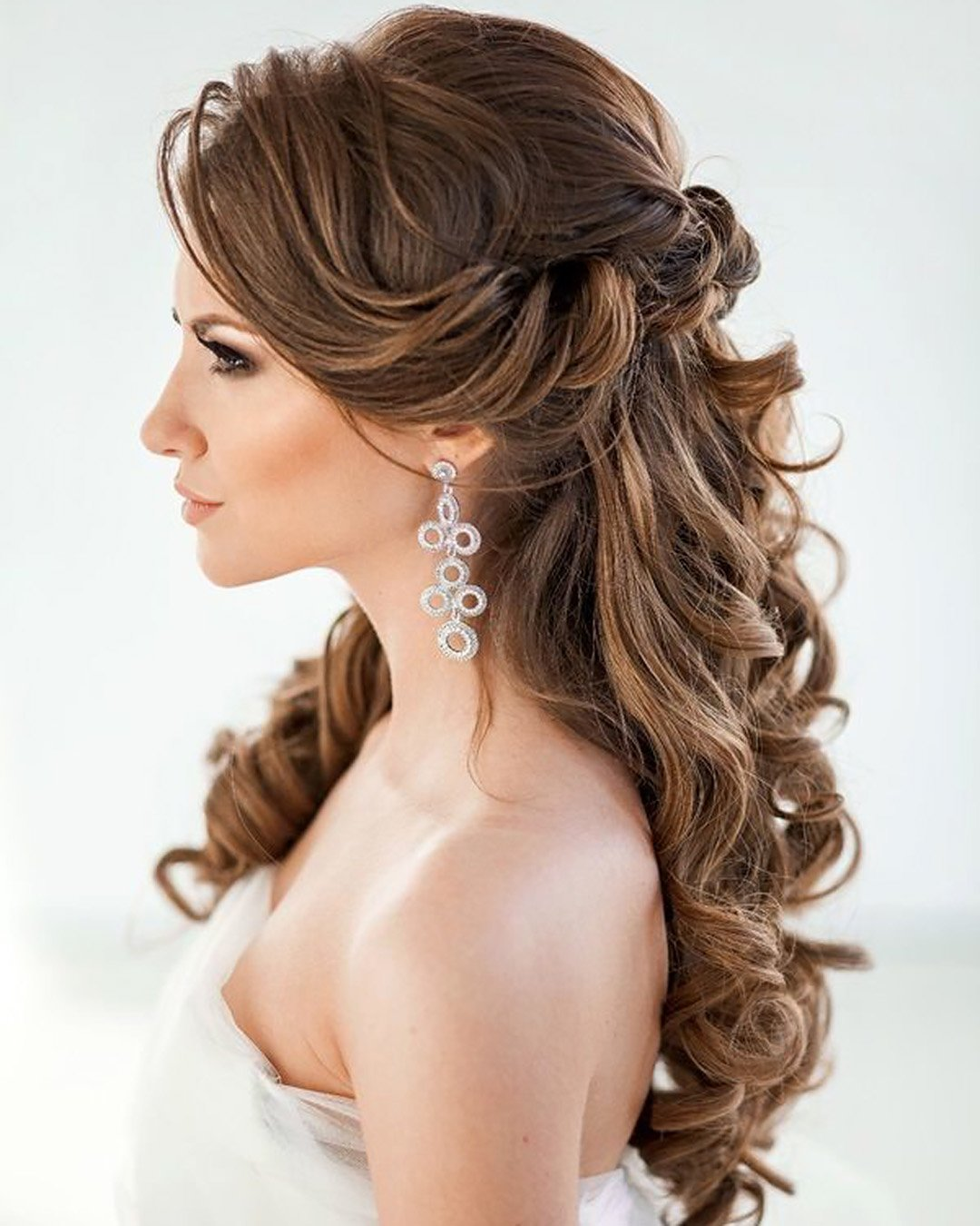 half up half down wedding hairstyles elegant with curls on brown hair elstile