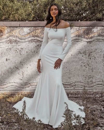 mermaid wedding dresses sheath off the shoulder with long sleeves jennyyoonyc