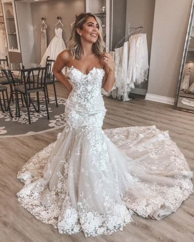 mermaid wedding dresses sweetheart strapless neckline floral appliques beach eveofmilady