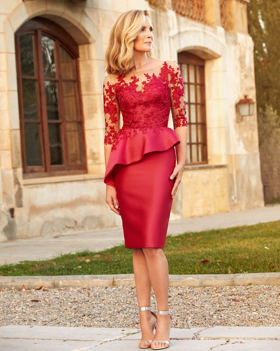 mother of the bride dresses knee length with illusion sleeves red sanpatrick