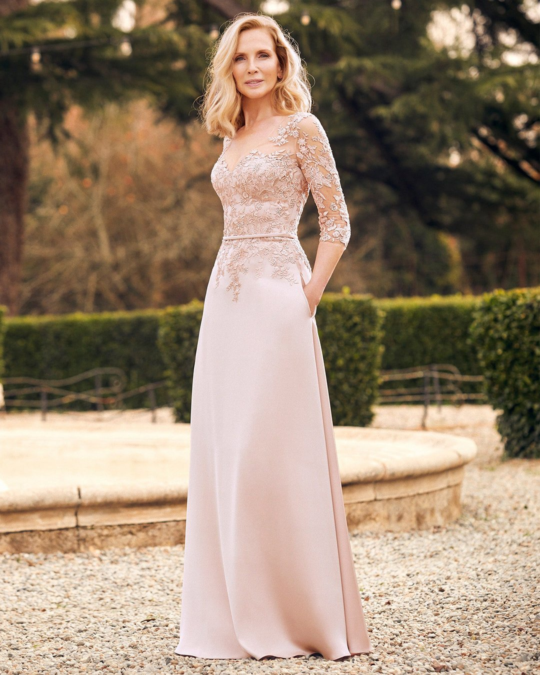 mother of the bride dresses long with illusion sleeves lace pink sanpatrick
