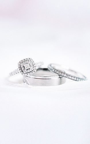 bridal sets white gold pave band diamonds