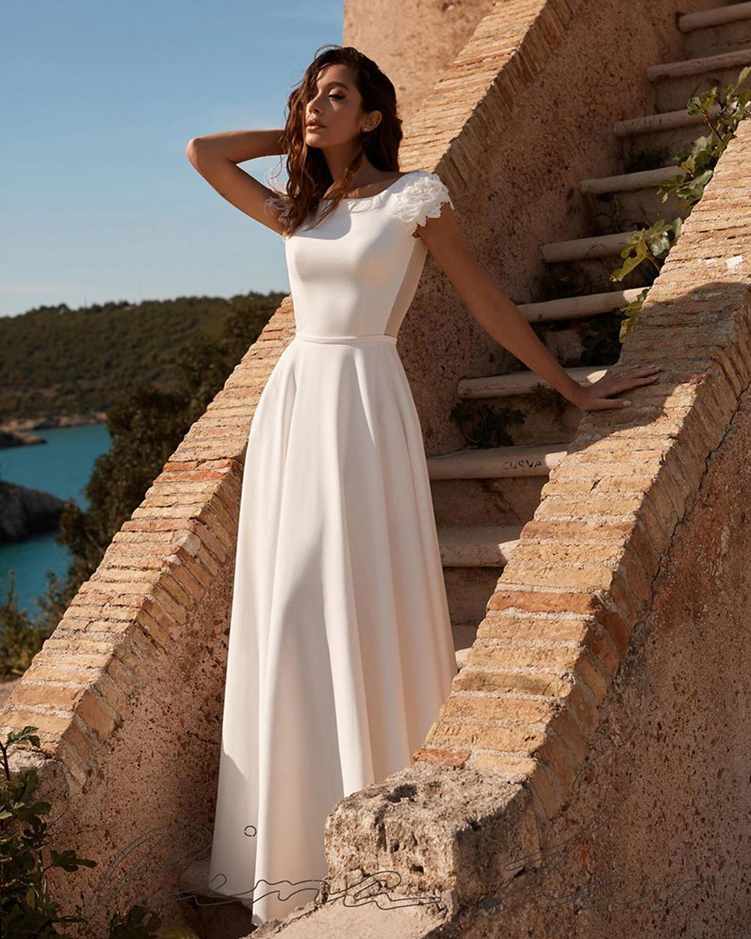 modest wedding dresses a line with cap sleeves simple liana bride