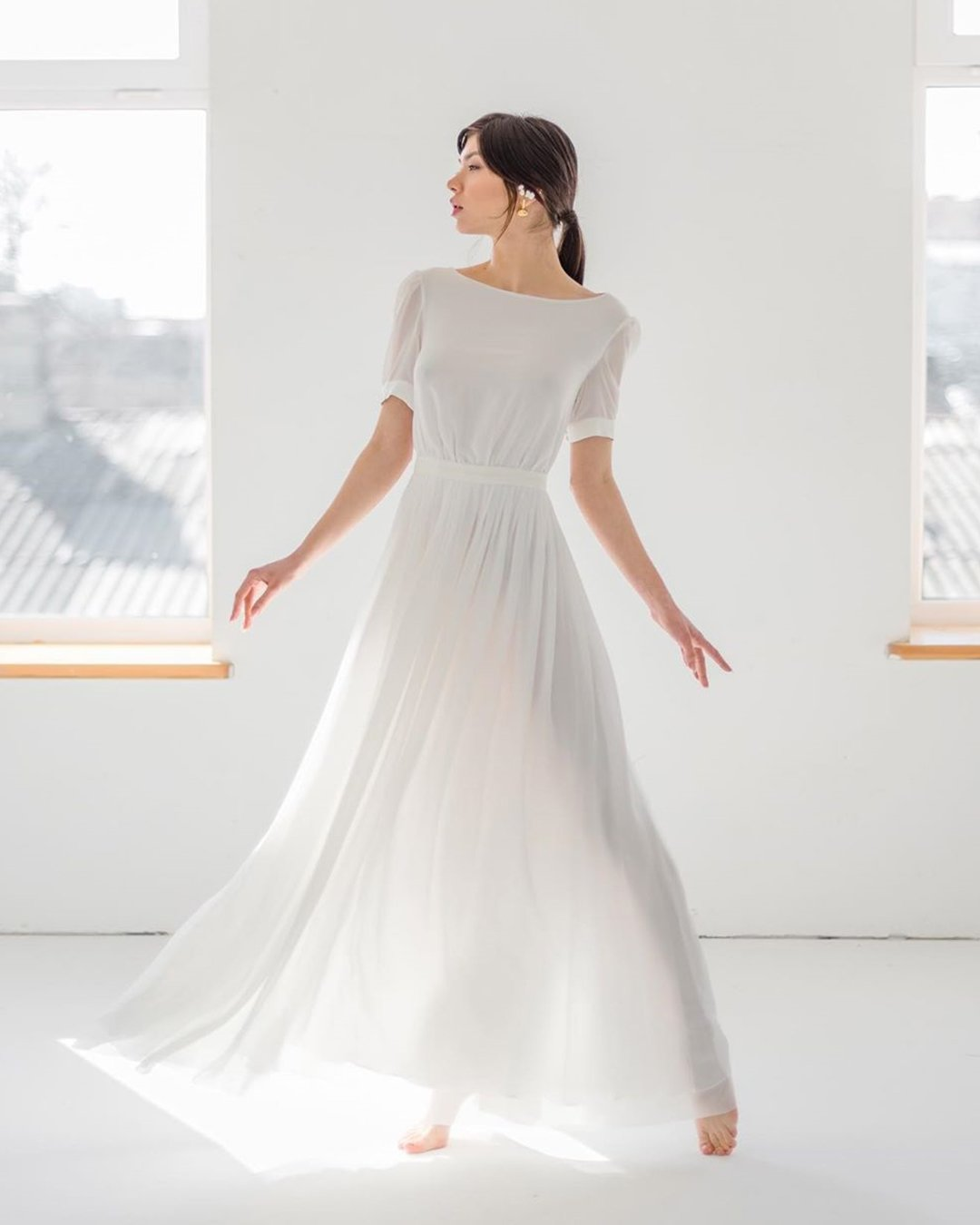 modest wedding dresses a line with cap sleeves simple rustic cathytelle