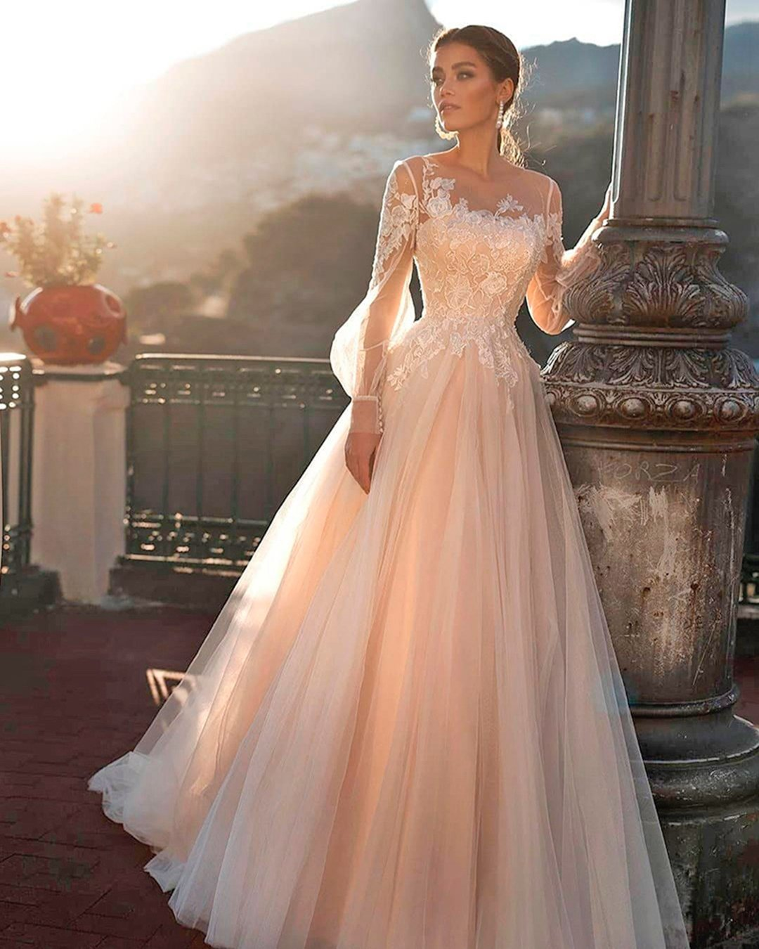 modest wedding dresses a line with long sleeves blush naviblue
