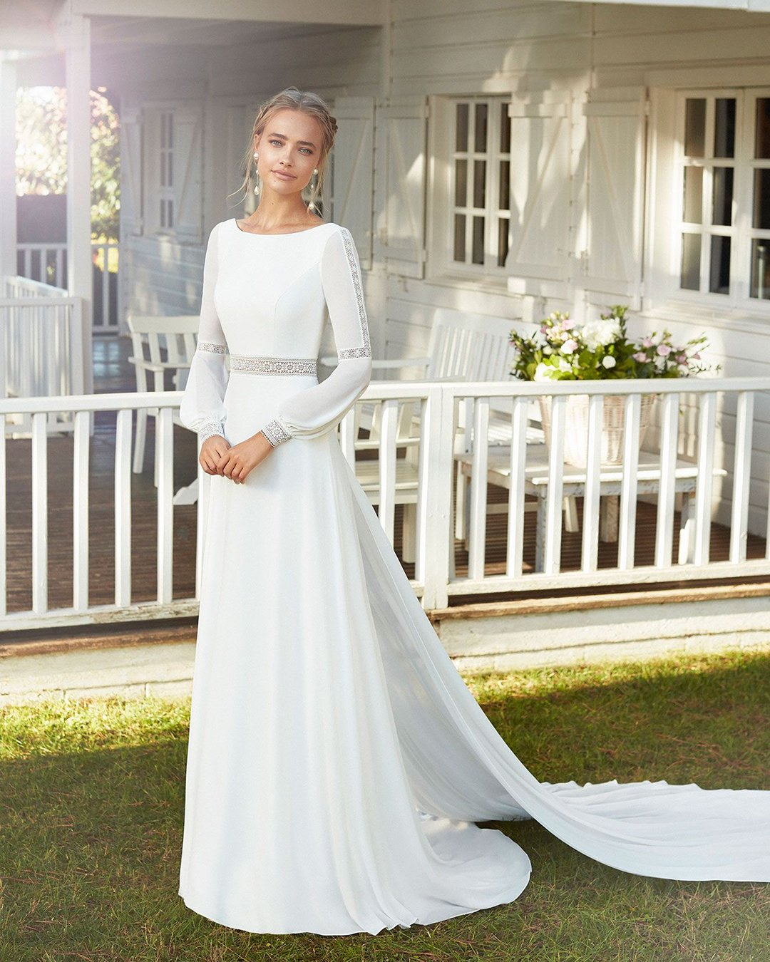 modest wedding dresses a line with long sleeves bohemian rosa clara