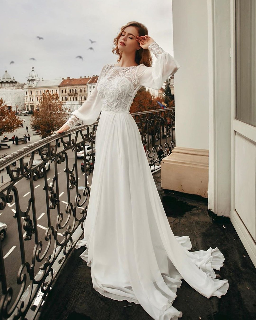 modest wedding dresses a line with long sleeves country romantic ligiamocan
