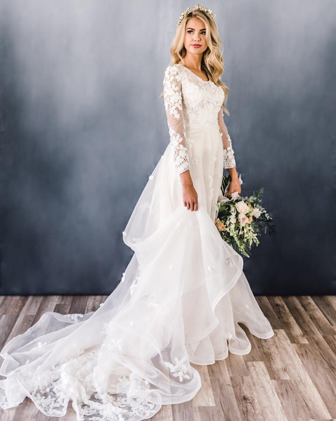 modest wedding dresses a line with long sleeves lace elizabethcooperdesign