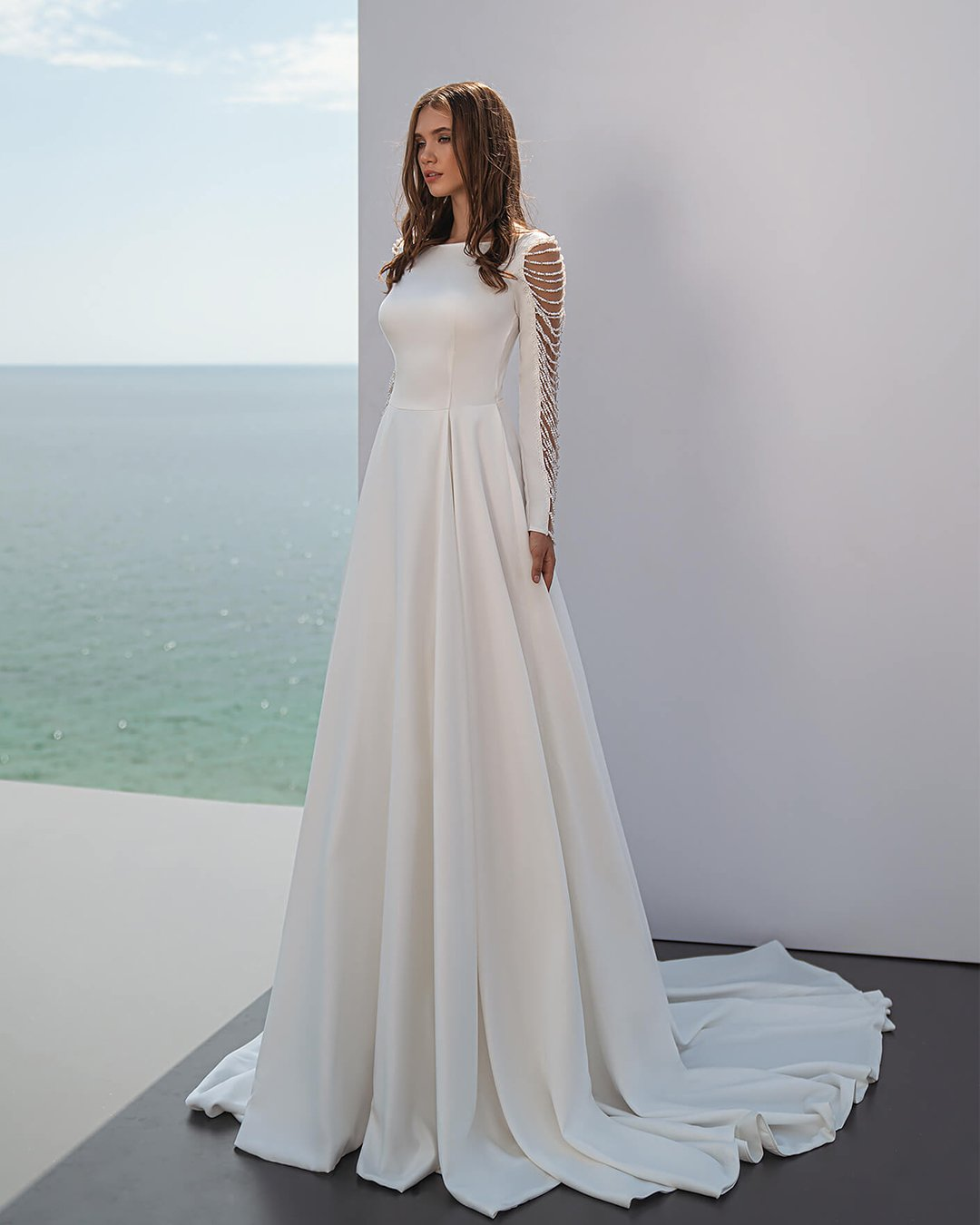 modest wedding dresses a line with long sleeves satin perfioni