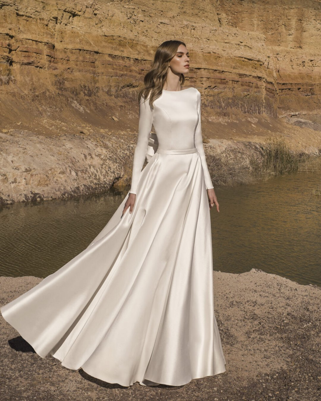 modest wedding dresses a line with long sleeves satin pnina tornai
