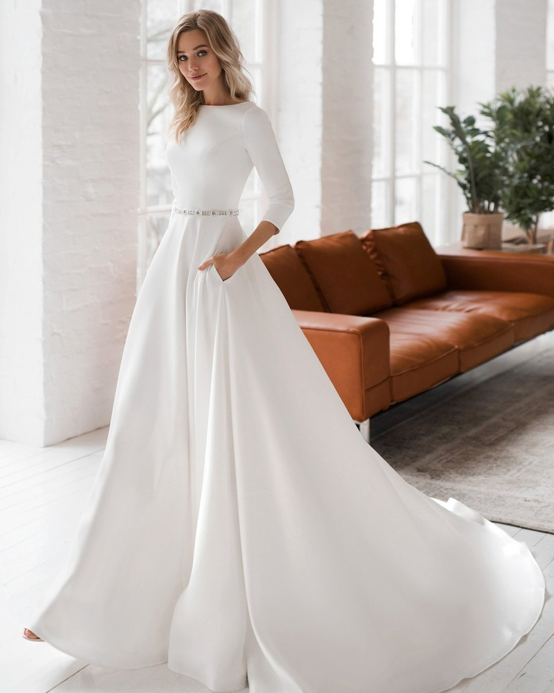 modest wedding dresses a line with sleeves simple dom_vesta