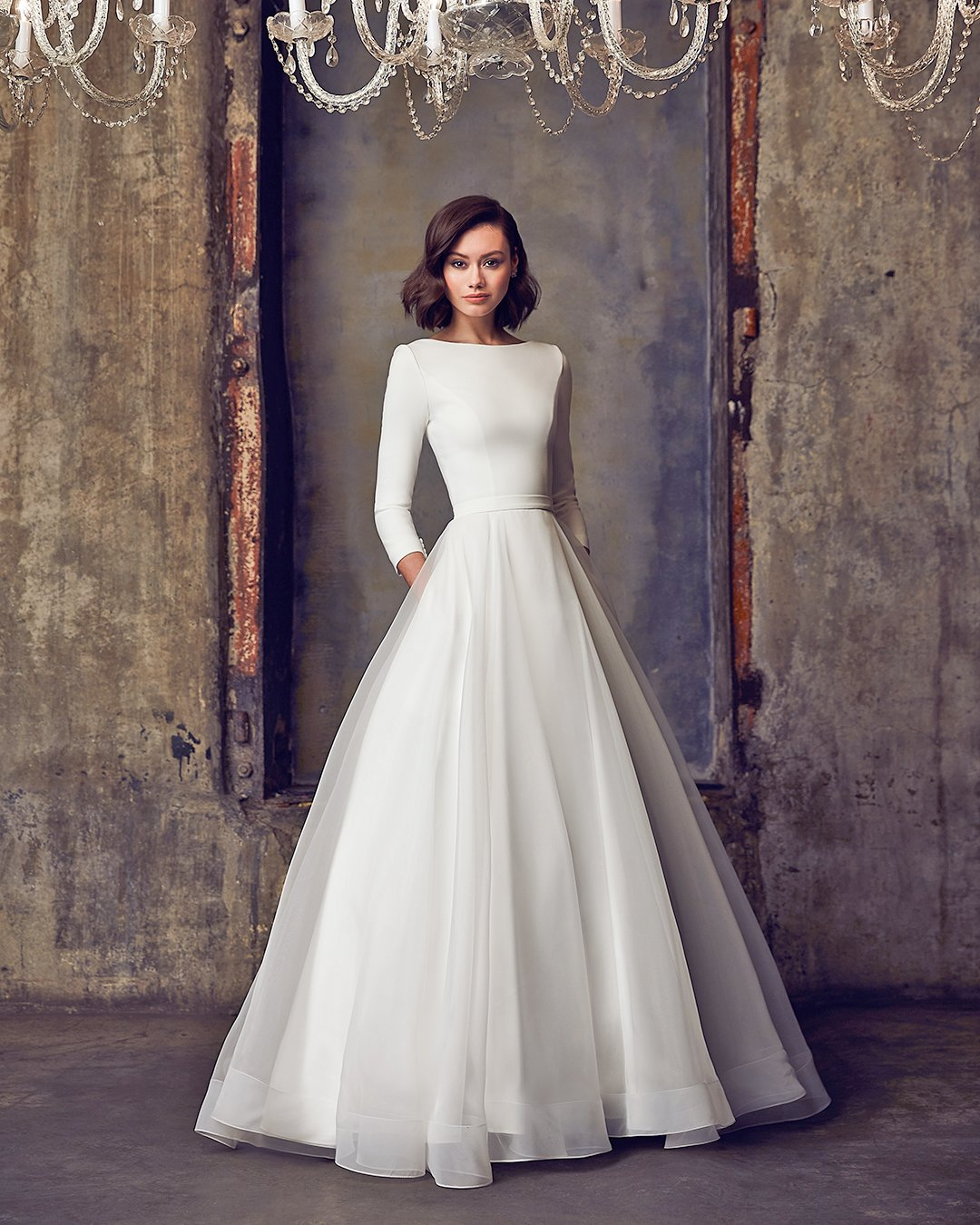 modest wedding dresses a line with sleeves simple mikaella