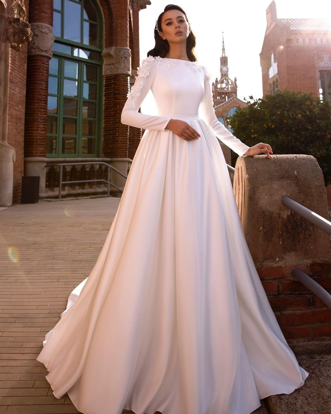 modest wedding dresses ball gown with long sleeves simple tina valerdi